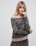 Jersey con escote Bardot y diseño de leopardo de ASOS DESIGN (parte de...