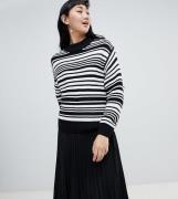 Jersey a rayas en negro y blanco con textura y cuello redondo de Monki