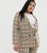 Americana de traje de cuadros marrones de ASOS DESIGN Curve