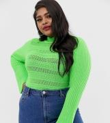 Jersey con detalle de pespunte y manga de campana de ASOS DESIGN Curve