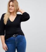 Top de manga larga con cuello en V en negro Ultimate de ASOS DESIGN Cu...