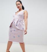 Vestido de tubo de neopreno con adornos de ASOS DESIGN Curve