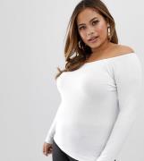 Top con escote Bardot y manga larga en blanco de ASOS DESIGN Curve