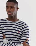 Camiseta de manga larga con cuello redondo de punto grano de arroz a r...