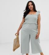 Mono largo fruncido con manga de volantes de ASOS DESIGN Curve