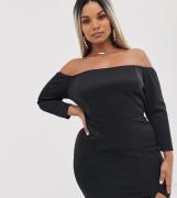 Minivestido de manga larga con escote Bardot de ASOS DESIGN Curve