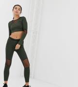 Leggings deportivos caqui con aplicación de malla de Missguided