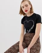 Camiseta con sello de purpurina de Love Moschino